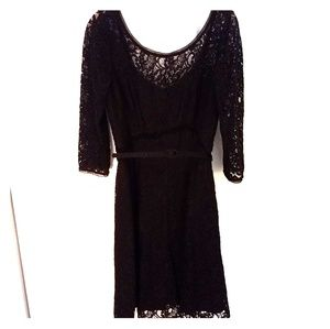 WHBM black lace scoop neck belted tea dress